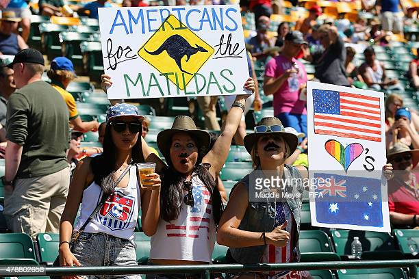 Australia fans hold signs in support of their team during the FIFA Women's World Cup Canada 2015 quarter final match between Japan and Australia at...