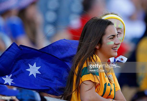 Australia fans look on prior to the FIFA Women's World Cup Canada 2015 match between Australia and Nigeria at Winnipeg Stadium on June 12 2015 in...