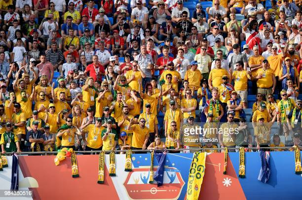 Australia fans show their support during the 2018 FIFA World Cup Russia group C match between Australia and Peru at Fisht Stadium on June 26, 2018 in...