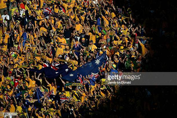 Australia fans sing the national anthem prior to the FIFA World Cup Germany 2006 Group F match between Brazil and Australia at the Stadium Munich on...
