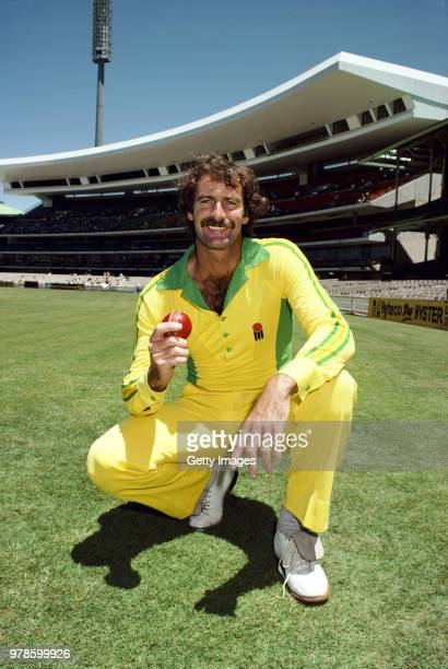 Australia fast bowler Dennis Lillee pictured holding a red ball before a Benson and Hedges World Series One Day International in January 1982 in...