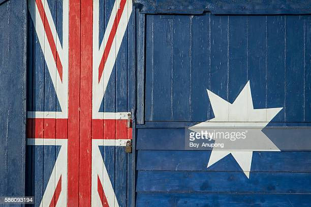 Australia flag painting on the surface of Bathroom box at Brighton beach, Melbourne.