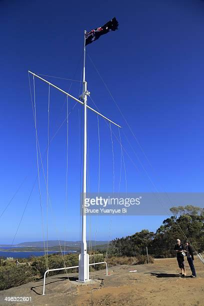 Australia flag with King George III Sound in back