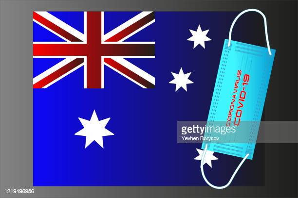 australia flag with vector illustration of disposable mask and covid-19 inscription - banner vector stock pictures, royalty-free photos & images