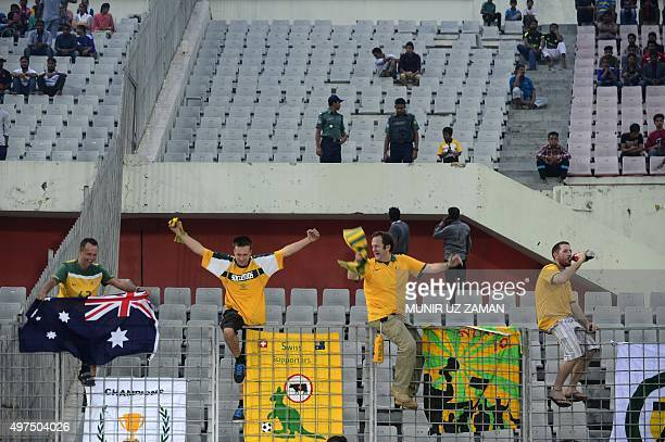 Australia football spectators cheer during the Asia Group B FIFA World Cup 2018 qualifying football match between Bangladesh and Australia at the...