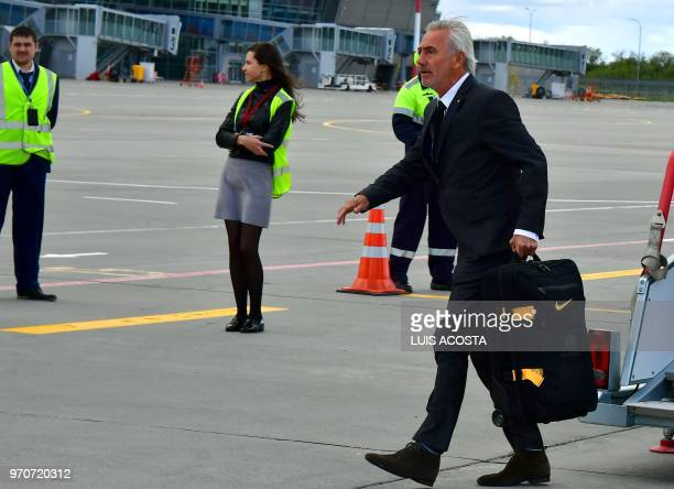 Australia football team's coach Bert Van Marwijk disembarks from an airplane as they arrive at Kazan airport on June 10 ahead of the Russia 2018...