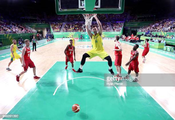 Australia forward Angus Brandt Australia dunks during the Men's Gold Medal Basketball Game between Australia and Canada on day 11 of the Gold Coast...