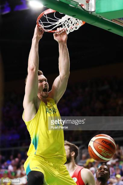 Australia forward Angus Brandt shoots Australia backet during the Men's Gold Medal Basketball Game between Australia and Canada on day 11 of the Gold...