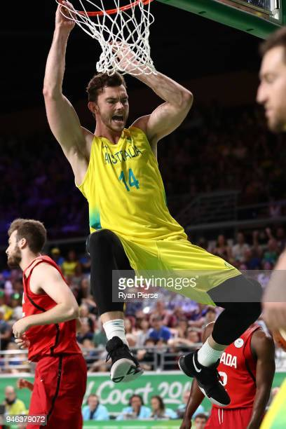 Australia forward Angus Brandt shoots during the Men's Gold Medal Basketball Game between Australia and Canada on day 11 of the Gold Coast 2018...