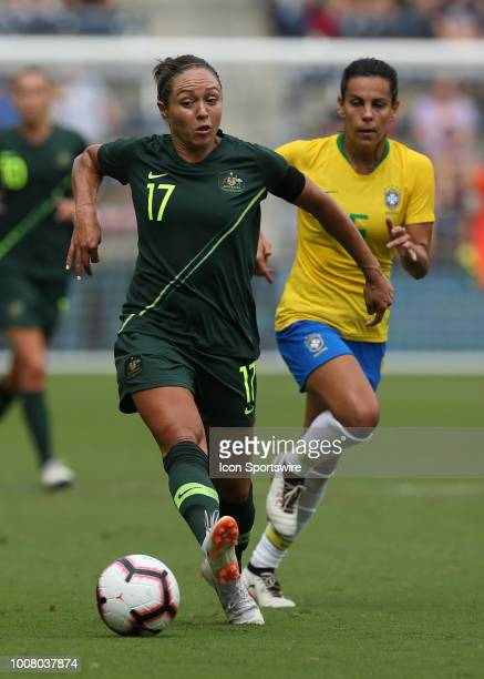 Australia forward Kyah Simon in the first half of a women's soccer match between Brazil and Australia in the 2018 Tournament of Nations on July 26...
