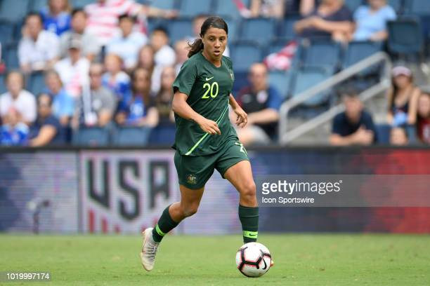 Australia forward Sam Kerr dribbles the ball in game action during a Tournament of Nations match between Brazil vs Australia on July 26 2018 at...