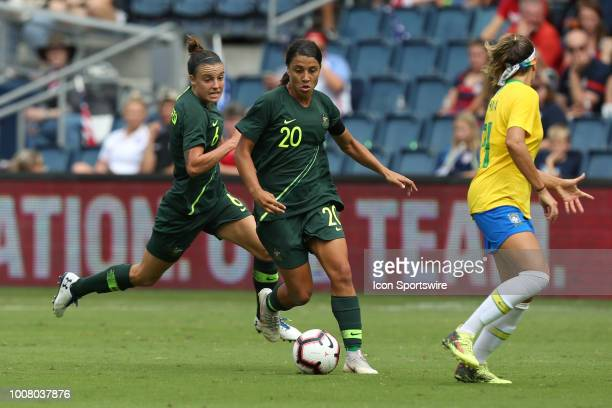 Australia forward Sam Kerr in the first half of a women's soccer match between Brazil and Australia in the 2018 Tournament of Nations on July 26 2018...