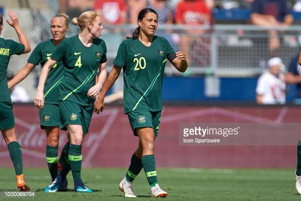 Australia forward Sam Kerr reacts after scoring a goal in game action during a Tournament of Nations match between Brazil vs Australia on July 26...