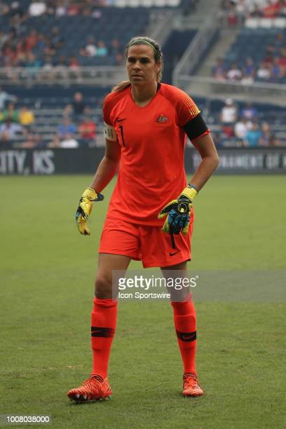 Australia goalkeeper Lydia Williams before a women's soccer match between Brazil and Australia in the 2018 Tournament of Nations on July 26 2018 at...