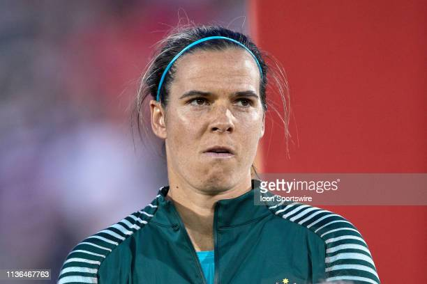 Australia goalkeeper Lydia Williams looks on prior to game action during an International friendly match between the United states and Australia on...
