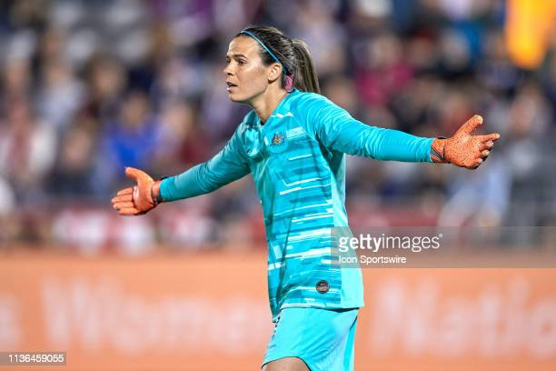 Australia goalkeeper Lydia Williams reacts to a play in game action during an International friendly match between the United states and Australia on...