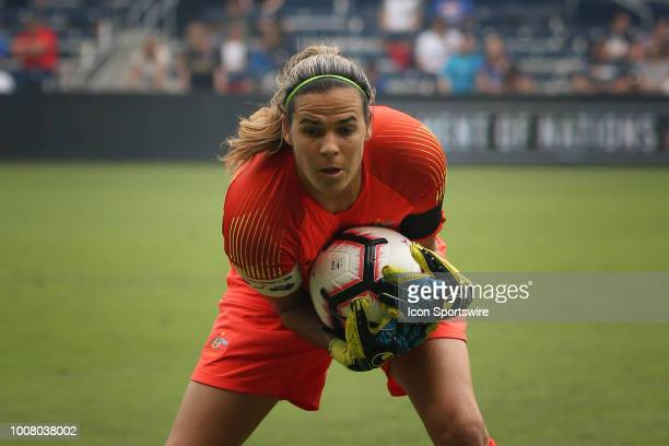 Australia goalkeeper Lydia Williams warms up before a women's soccer match between Brazil and Australia in the 2018 Tournament of Nations on July 26...