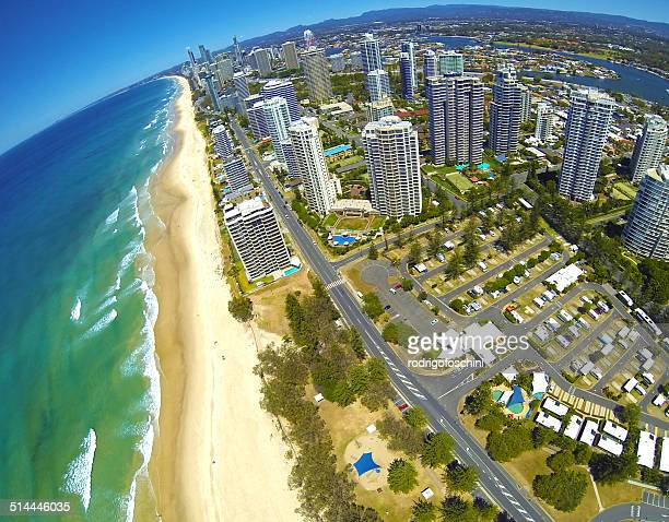 Australia, Gold Coast, Aerial view of Surfers Paradise