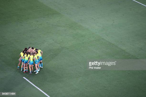 Australia group togeather in the Womens game between Australia and Wales during Rugby Sevens on day nine of the Gold Coast 2018 Commonwealth Games at...
