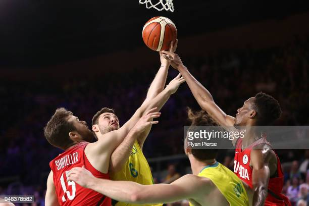 Australia guard Mitch Norton shoots during the Men's Gold Medal Basketball Game between Australia and Canada on day 11 of the Gold Coast 2018...