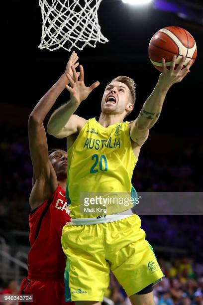 Australia guard Nathan Sobey drives to the basket during the Men's Gold Medal Basketball Game between Australia and Canada on day 11 of the Gold...