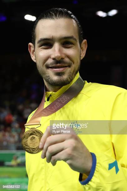 Australia guard/forward Chris Goulding celebrates winning gold during the medal ceremony for the Men's Gold Medal Basketball Game between Australia...
