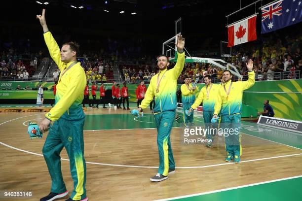 Australia guard/forward Chris Goulding celebrates winning gold during the medal ceremony for the Men's Gold Medal Basketball Game between Australia...