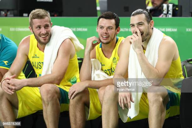 Australia guard/forward Chris Goulding looks on during the Men's Gold Medal Basketball Game between Australia and Canada on day 11 of the Gold Coast...