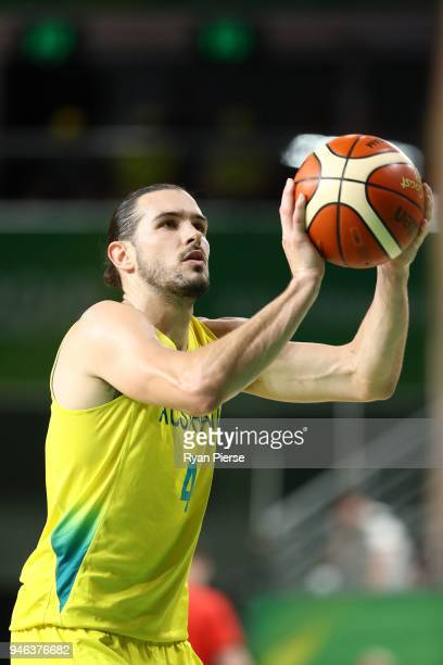 Australia guard/forward Chris Goulding shoots during the Men's Gold Medal Basketball Game between Australia and Canada on day 11 of the Gold Coast...