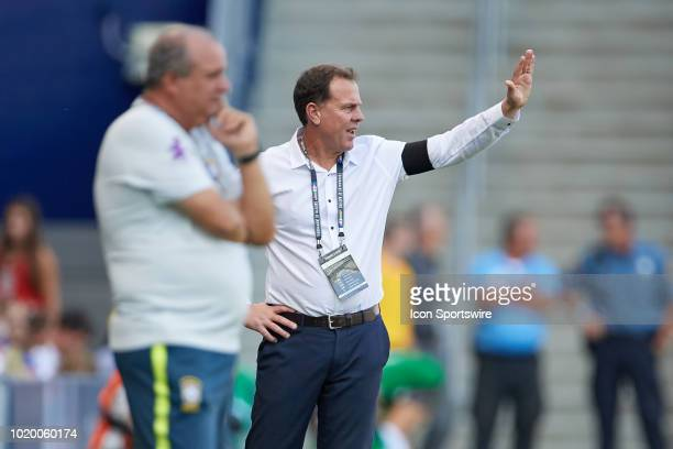 Australia head coach Alen Stajcic instructs from the sidelines in game action during a Tournament of Nations match between Brazil vs Australia on...
