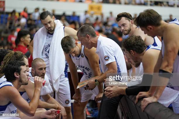 Australia head coach Andrej Marcus Lemanis addresses his players during the 2018 SinoAustralia Men's Internationl Basketball Challenge match between...