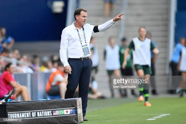 Australia head coach/manager Alen Stajcic instructs from the sidelines in game action during a Tournament of Nations match between Brazil v Australia...