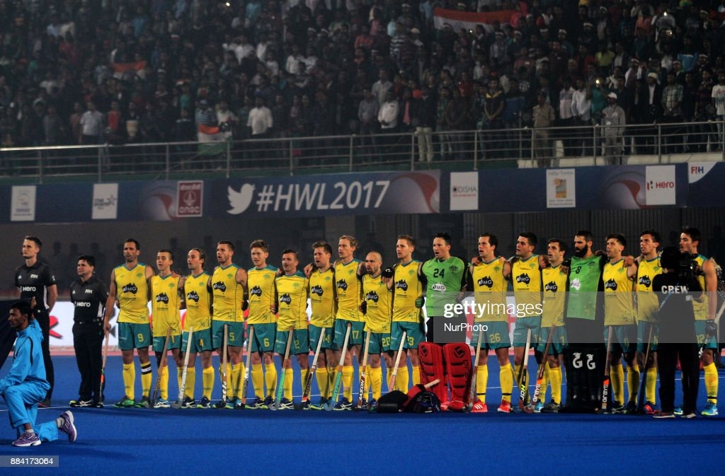 Australia hockey players lines-up before their match against