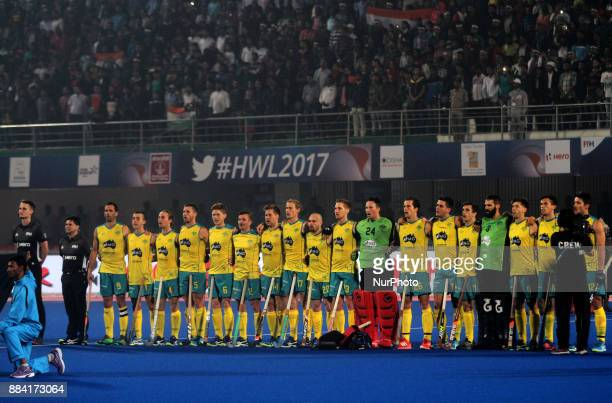 Australia hockey players linesup before their match against India in the Hockey World League Final 2017 matches in the eastern Indian city...