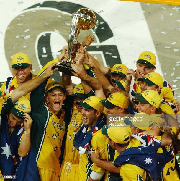Australia hold the Cricket World Cup after winning the ICC Cricket World Cup Final between Australia and India held on March 23 2003 at The Wanderers...