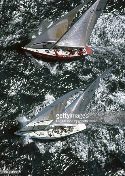 Australia II is leading the American boat Liberty during the America's Cup series at Newport Rhode Island 14th September 1983 In September 1983 the...