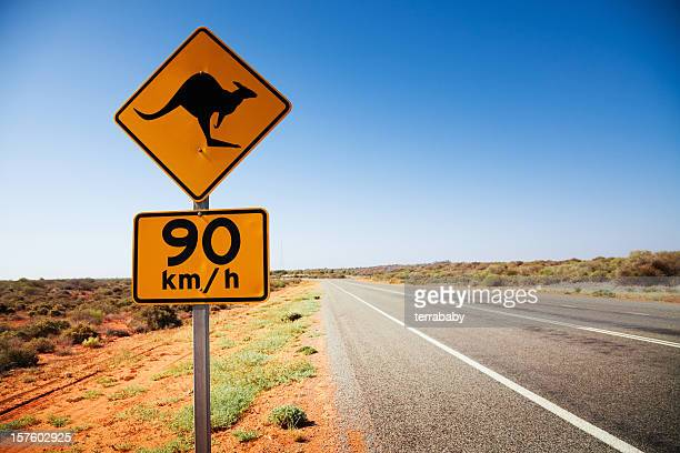 Australia Kangaroo Sign at Lonely Country Road