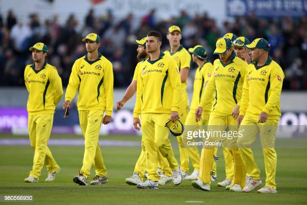 Australia leave the field after losing the 4th Royal London One Day International between England and Australia at Emirates Durham ICG on June 21...