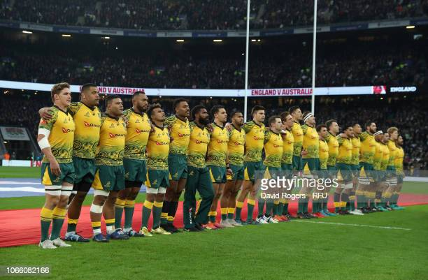 Australia line up for the anthems during the Quilter International match between England and Australia on November 24, 2018 in London, United Kingdom.