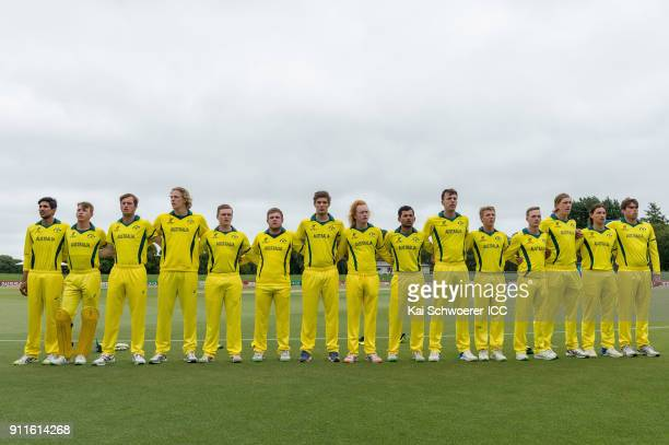 Australia line up for their national anthem prior to the ICC U19 Cricket World Cup Semi Final match between Australia and Afghanistan at Hagley Oval...