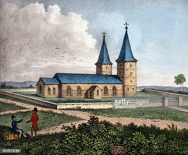 Australia Lithographs / engravings from the 19th century Church of the penal colony Paramatta / New South Wales colored lithograph Early 19th century