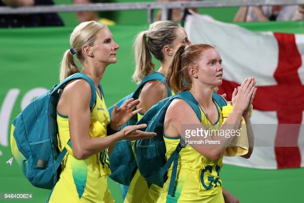Australia look dejected following the Netball Gold Medal Match on day 11 of the Gold Coast 2018 Commonwealth Games at Coomera Indoor Sports Centre on...