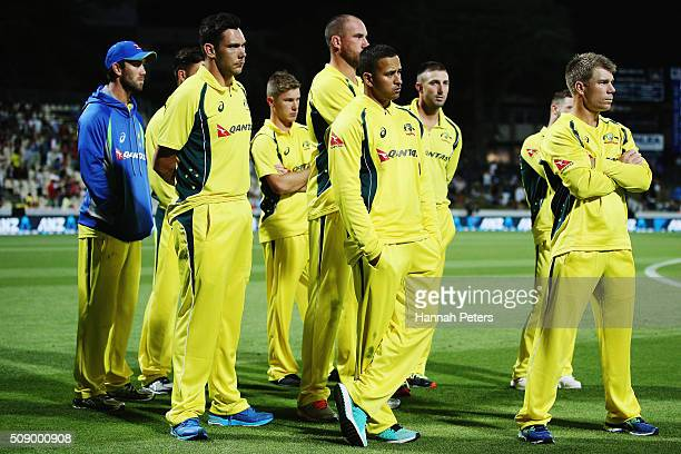 Australia look on after losing the 3rd One Day International cricket match between the New Zealand Black Caps and Australia at Seddon Park on...
