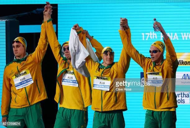 Australia make their way out prior to the Men's 4x100m Freestyle Final on day ten of the Budapest 2017 FINA World Championships on July 23 2017 in...