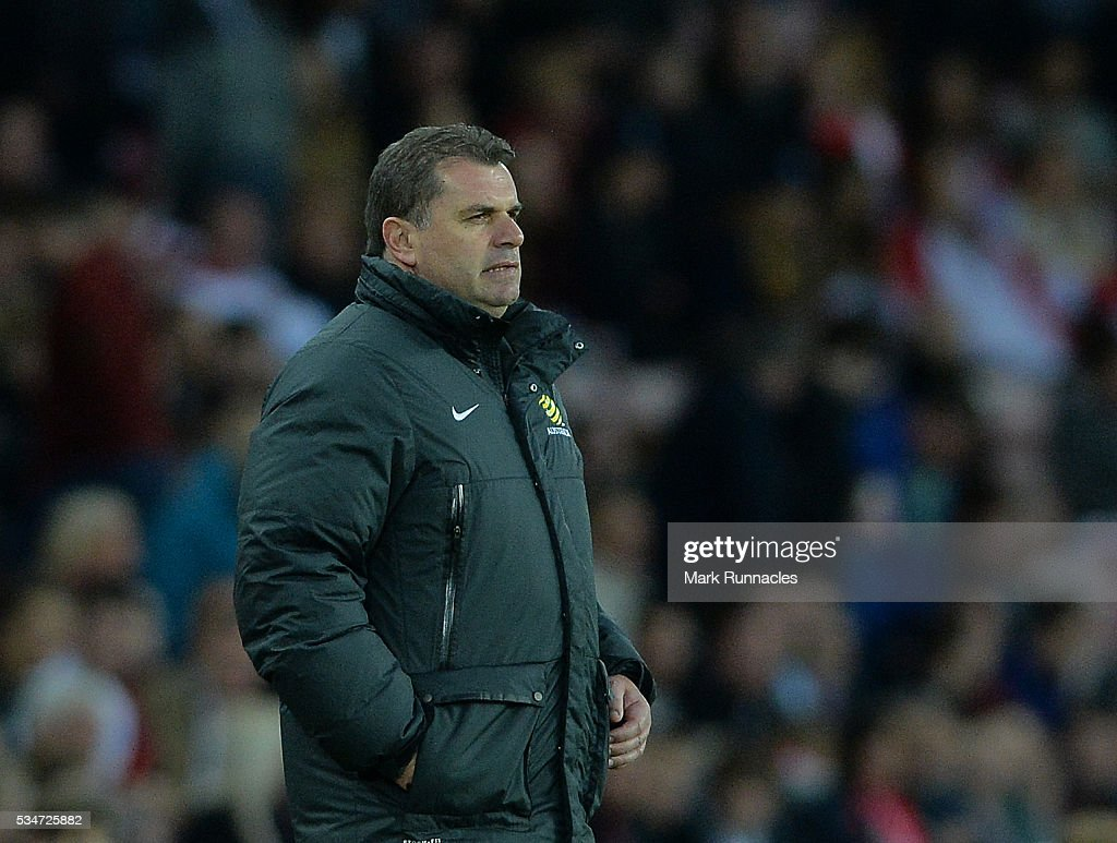 Australia manager Ange Postecoglou looks on during the International Friendly match between England and Australia at Stadium of Light on May 27, 2016 in Sunderland, England.