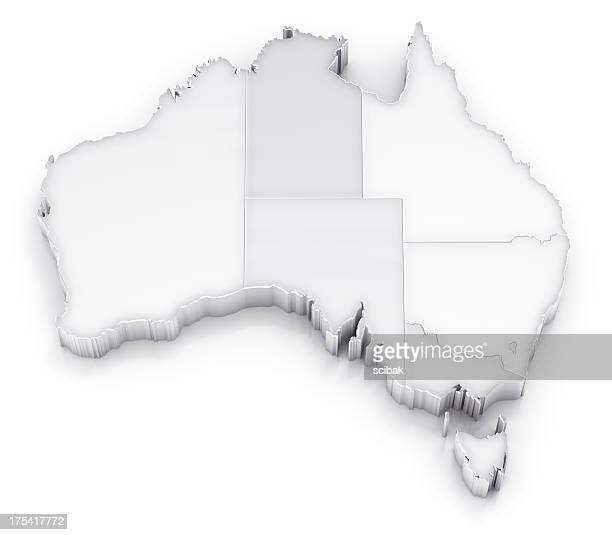 Australia map with states white version