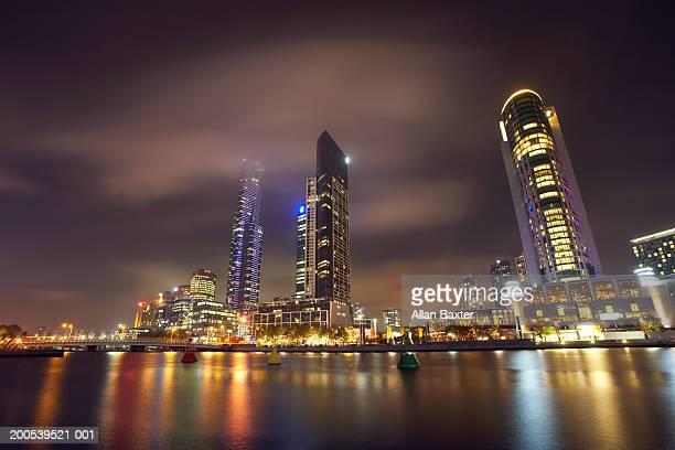 Australia, Melbourne, Crown Casino complex illuminated at night