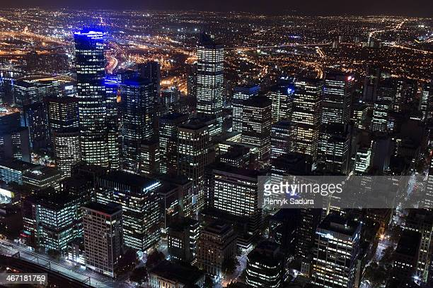 Australia, Melbourne, Victoria, Cityscape at night