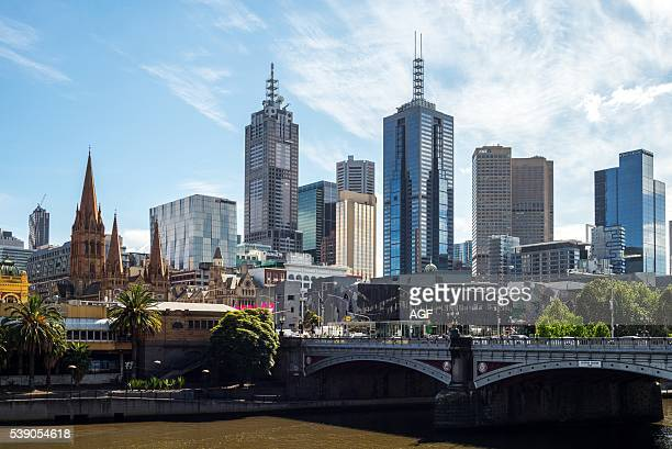 Australia Melbourne View of the City Center from the South Bank