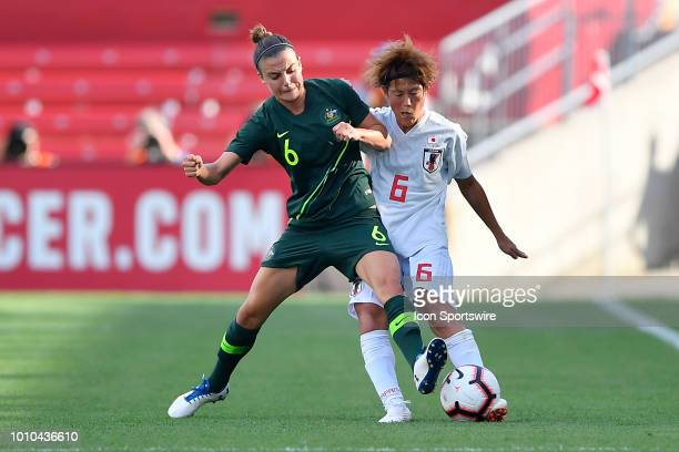 Australia midfielder Chloe Logarzo and Japan defender Saori Ariyoshi battle for the ball during the 2018 Tournament Of Nations at Toyota Park on...